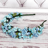 Ободок Красотка (голубий) - цветы ручная робота, фото 1