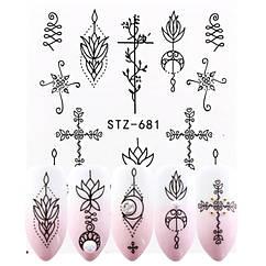 Наклейки для Ногтей Водные Черного Цвета Серия STZ 681 Цветочный Орнамент, Крест, Пластина  6,5 х 5 см