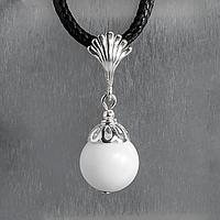 Перламутр белый, Ø12 мм., серебро, кулон, 893КЛП