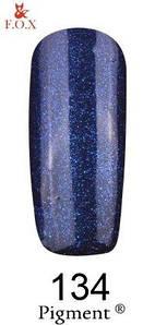 Гель-лак F.O.X. 6 мл Pigment 134 темна синий с микро блеском, эмаль