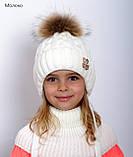 Детская зимняя шапка для девочки с натуральным помпоном 50, Пудра, фото 5