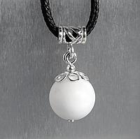 Перламутр белый, Ø12 мм., серебро, кулон, 894КЛП