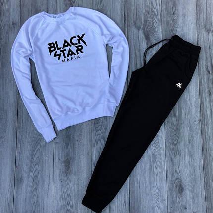 Костюм спортивный Black Star бело-черный топ реплика, фото 2