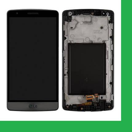 LG D724, D722, D725, D728, LG G3S, LG G3 mini Дисплей+тачскрин(сенсор) в рамке серый, фото 2