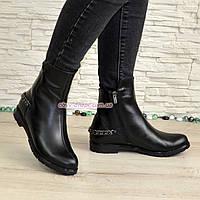 Женские кожаные демисезонные ботинки, декорированы цепочкой., фото 1