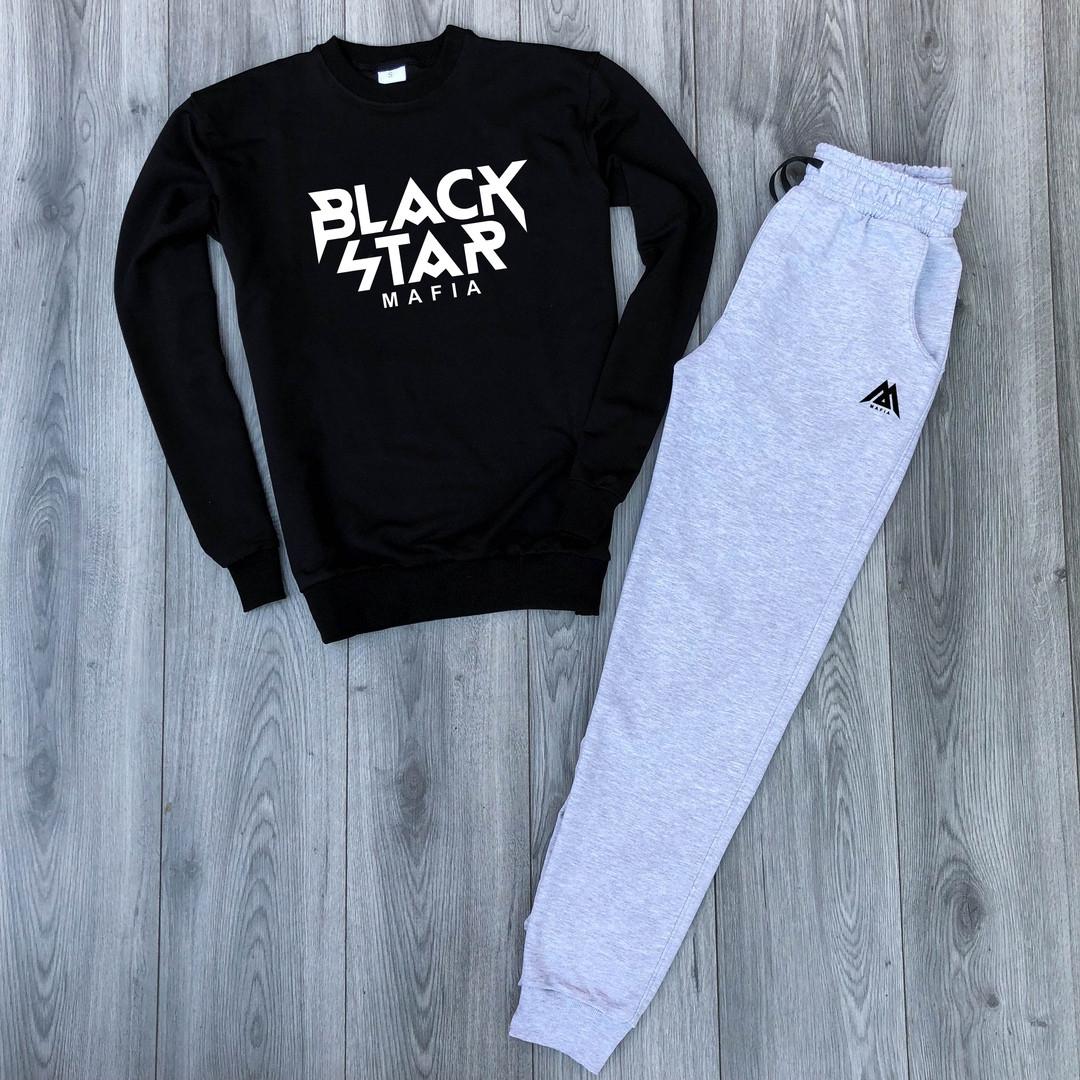 Костюм спортивный Black Star черно-серый топ реплика