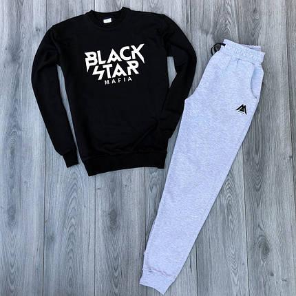 Костюм спортивный Black Star черно-серый топ реплика, фото 2
