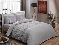 Двуспальное евро постельное белье TAC Sonya gri Фланель