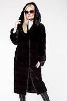 Шуба из норки женская Black Glama с капюшоном поперечка черная шикарная, фото 1