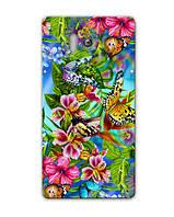 Чехол для Huawei Honor 3 (Тропические бабочки)