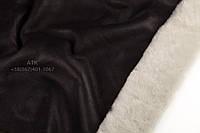 Дубленка Интерфино черный напаллан с белым мехом