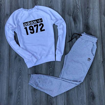 Костюм спортивный Adidas бело-серый топ реплика, фото 2