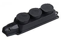 """Розеточная колодка трёхместная """"Омега"""" IP-44 сзащитными крышками"""