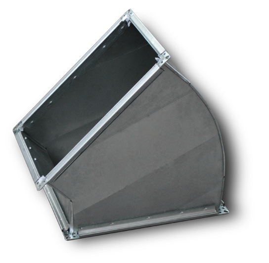Отвод прямоугольный 30° без фланца, оц. 0,9 мм
