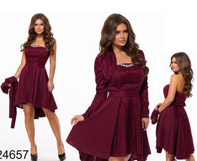 Нарядное женское платье двойка марсал 824657