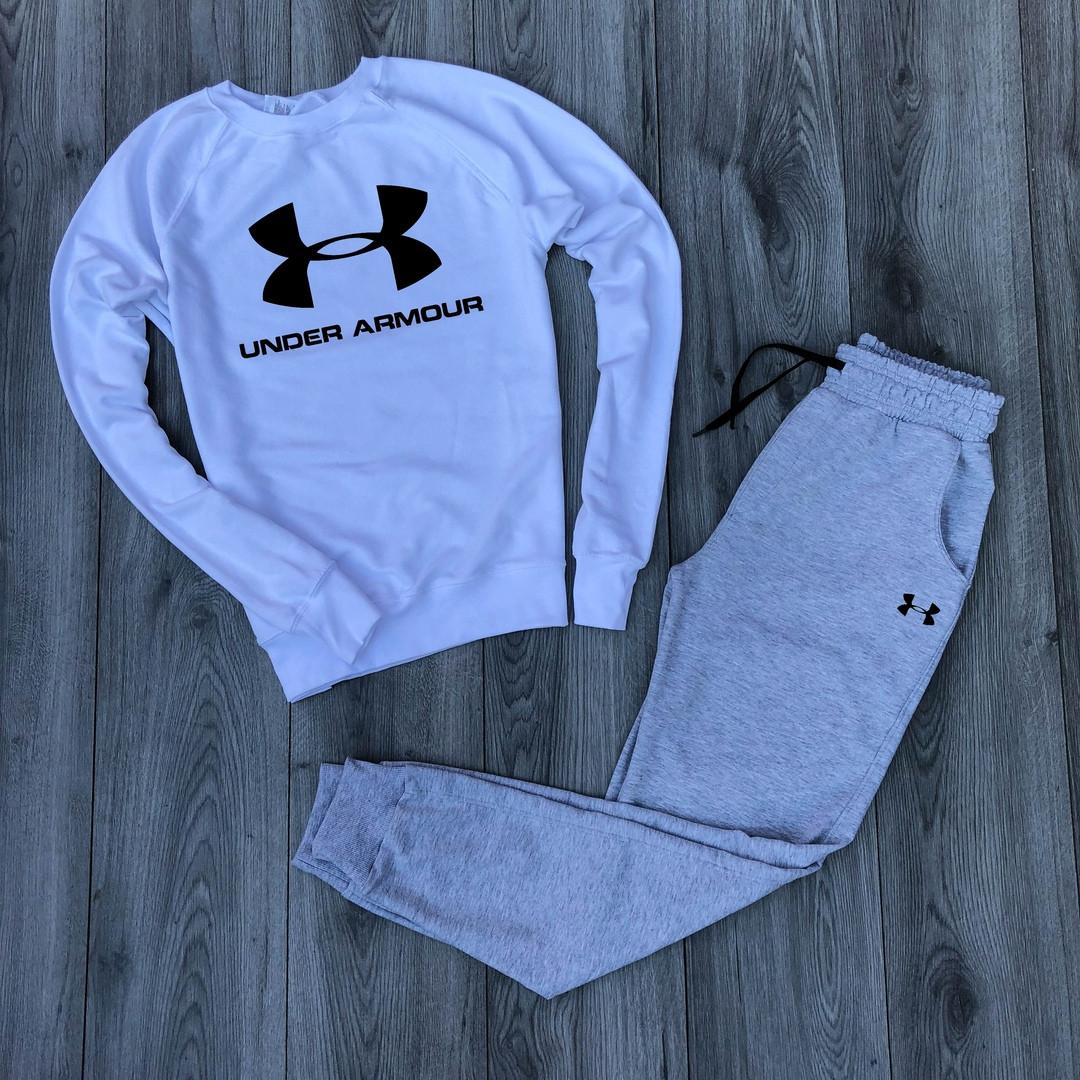 Костюм спортивный Under Armor белый свитшот серые брюки топ реплика