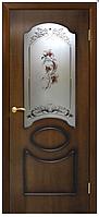 Двери шпонированые Виктория со стеклом+цветок Омис