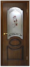 Двері шпоновані Вікторія зі склом+квітка Оміс