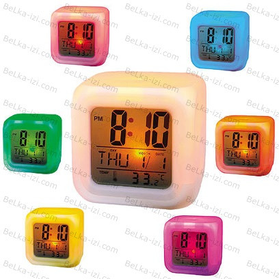 Настольные Часы-Будильник 7 LED Color с термометром