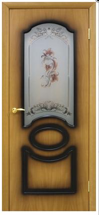 Двери шпонированые Виктория со стеклом+цветок Омис , фото 2