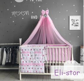 Набір в дитячу ліжечко - *Рожеві зірки.* - 14 предметів.