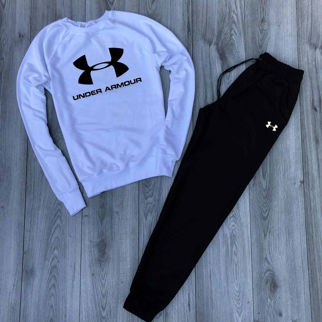 Спортивный костюм Under Armor белый верх черный низ топ реплика