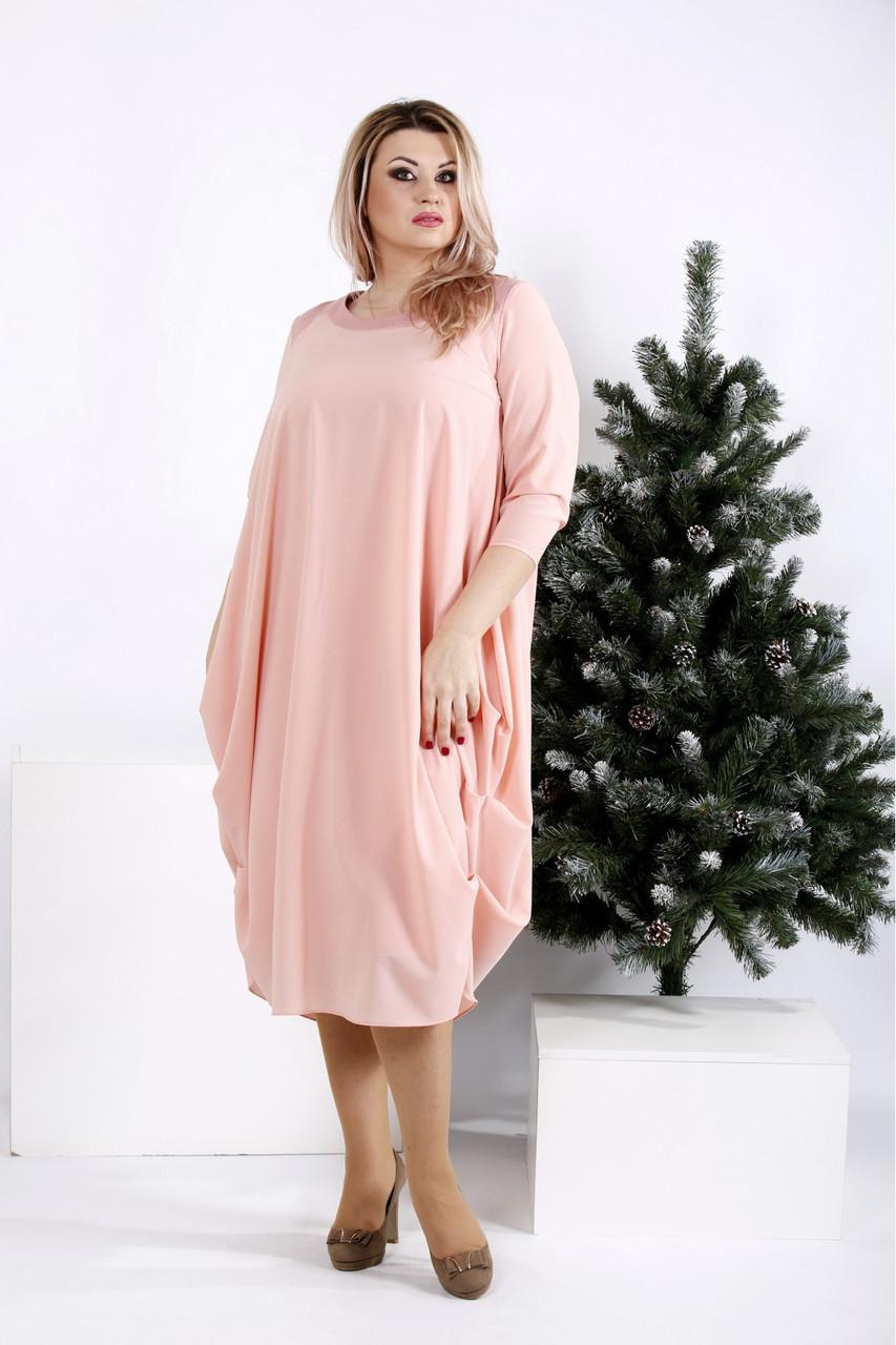 Платье больших размеров 0960 пудра (54-74)