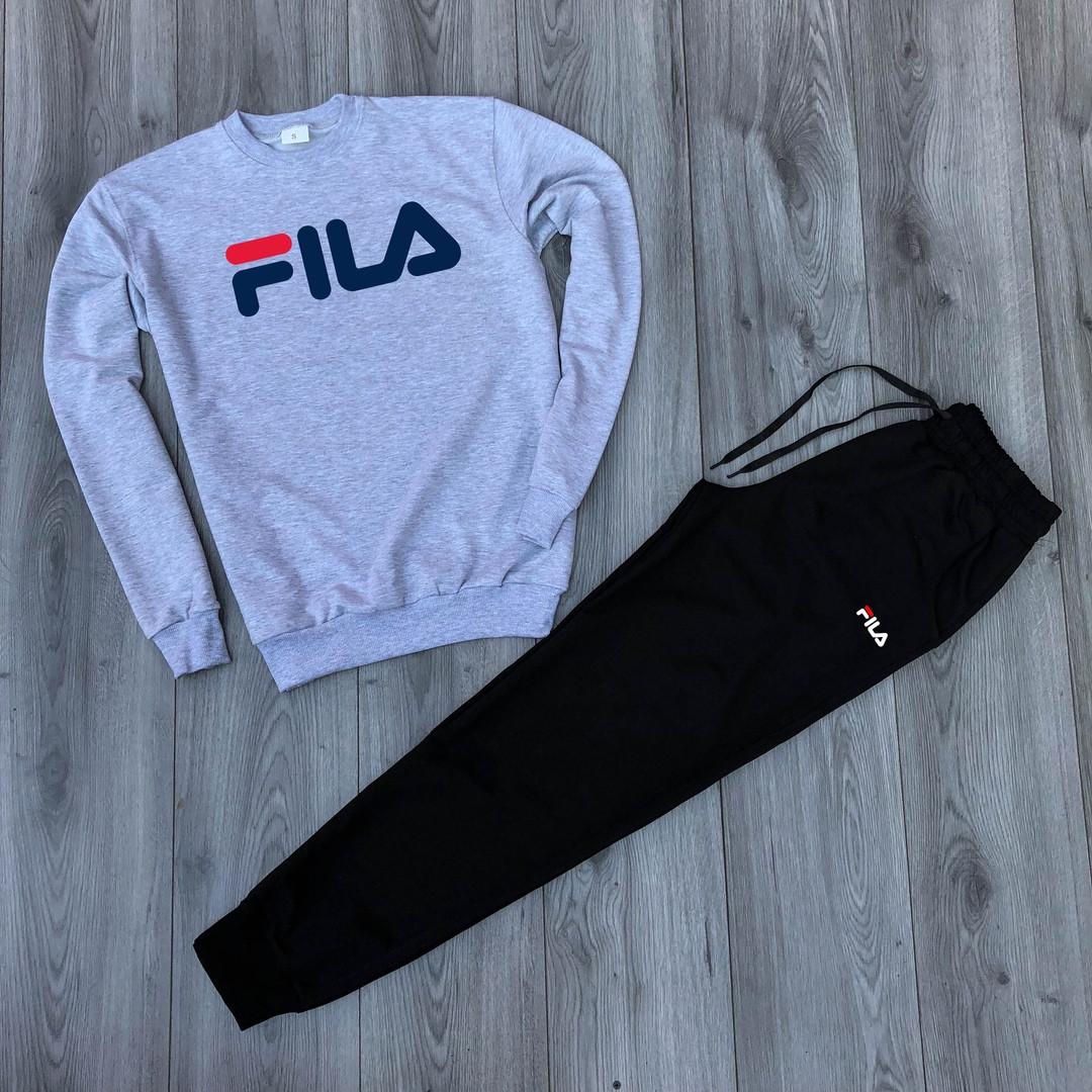 Спортивный костюм Fila серо-черный низ топ реплика