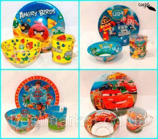 Набор детской посуды с героями мультфильмов 3 в 1 ( Стекло )