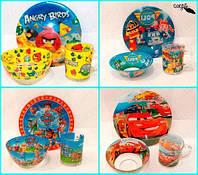 Набор детской посуды с героями мультфильмов 3 в 1 ( Стекло ), фото 1
