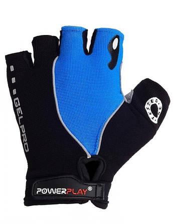 Велорукавички PowerPlay 5019 C Чорно-блакитні