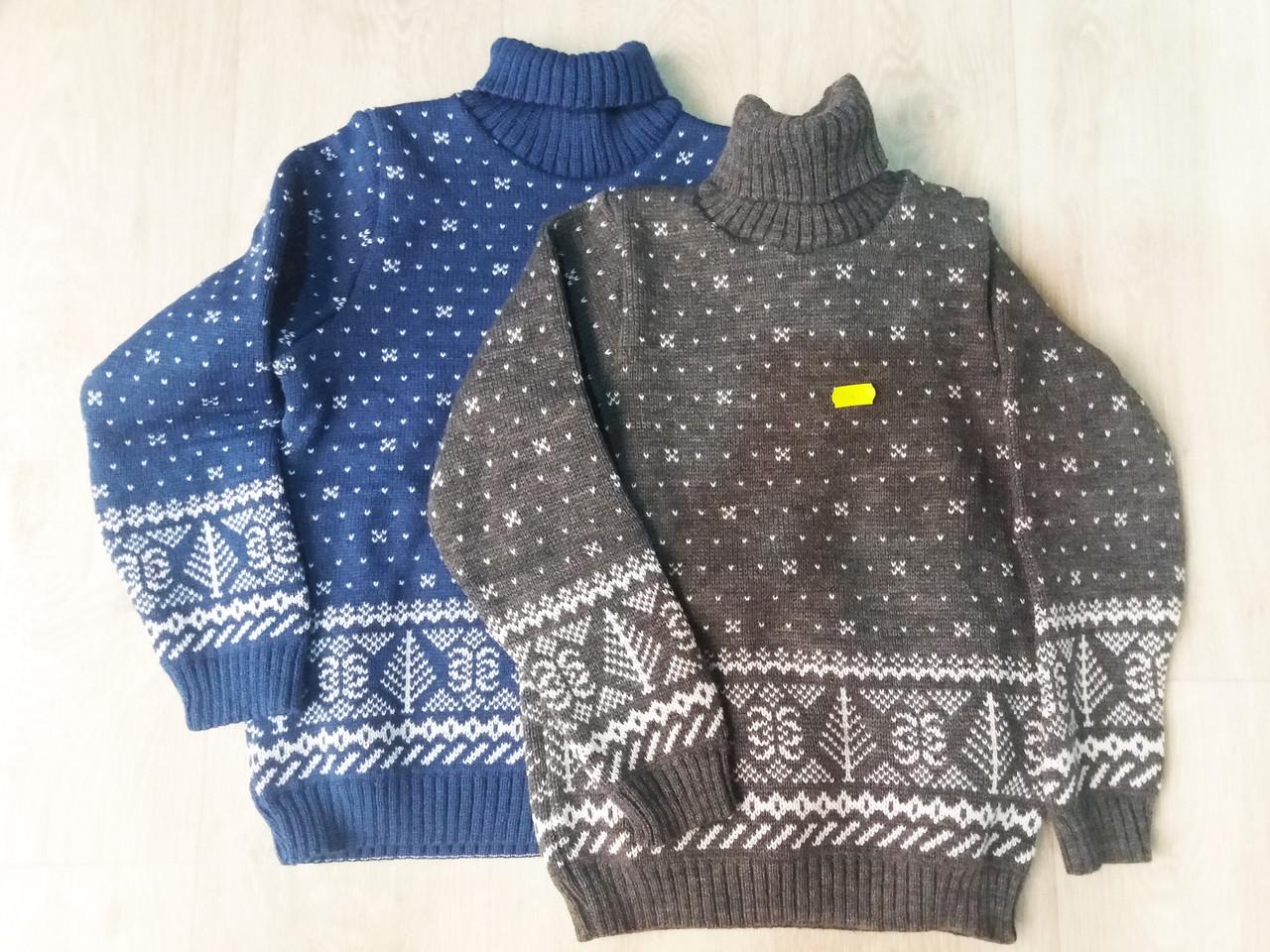Детский вязаный свитер под горло для мальчика