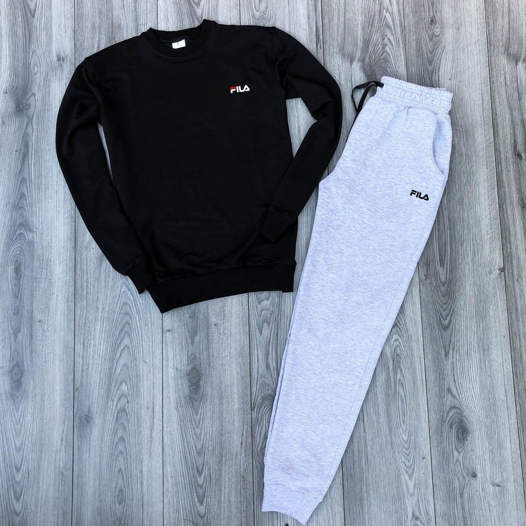 Костюм спортивный Fila черно-серого цвета топ реплика