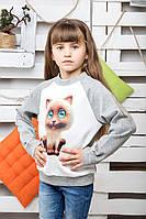 Свитшот детский Кошка меланж, фото 1