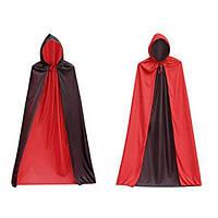Карнавальный плащ Дракулы с капюшоном (красно-чёрный)