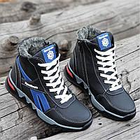 Подростковые зимние высокие кроссовки ботинки Reebok реплика мужские кожаные  черные на меху (Код  1255a f5311a98615ec