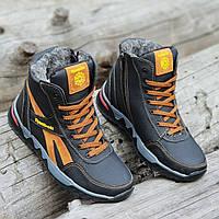 Подростковые зимние высокие кожаные кроссовки ботинки Reebok рибок реплика мужские черные мех (Код: 1256a)