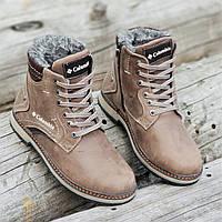Подростковые зимние ботинки для мальчика на шнурках и молнии кожаные коричневые на меху прошиты (Код: 1257a)