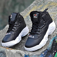32bfe2f6cae5 Улетные зимние черные кроссовки в стиле FILA на платформе женские  подростковые на высокой подошве (Код