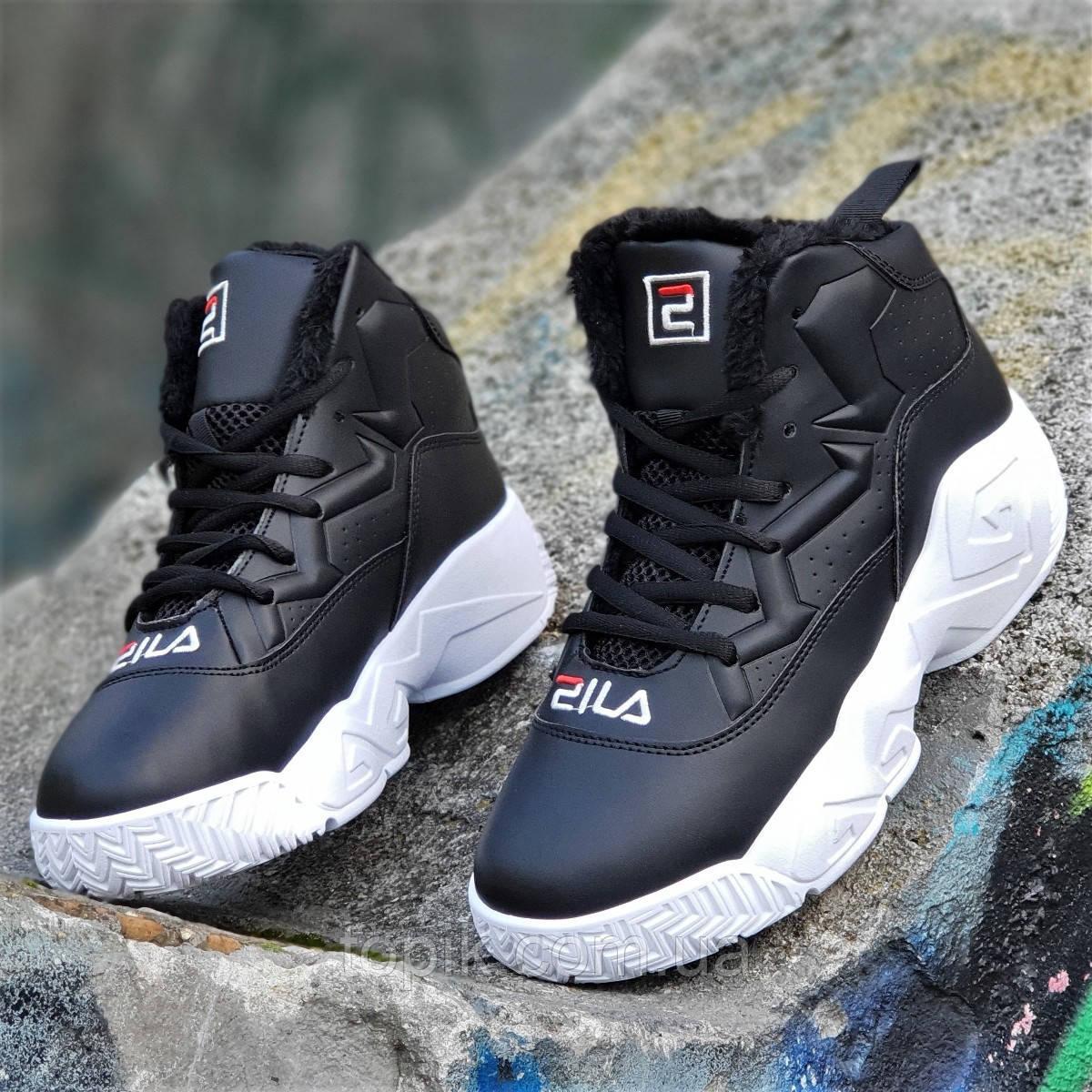 56ab86b6 Улетные зимние черные кроссовки в стиле FILA на платформе женские  подростковые на высокой подошве (Код