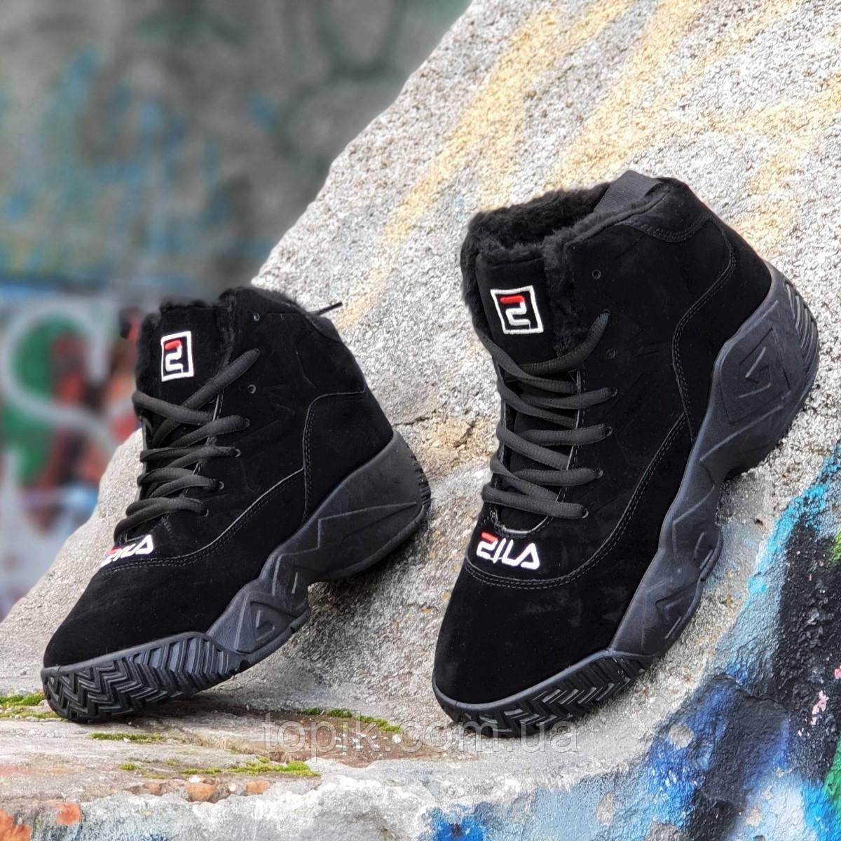 Зимние черные кроссовки в стиле FILA на платформе женские подростковые унисекс на высокой подошве (Код: 1263a)