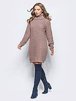 Вязанное платье свободного кроя  -розовый/мокко.(44-48-один универсальный)