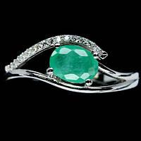 Кольцо серебряное 925 натуральный изумруд, цирконий.