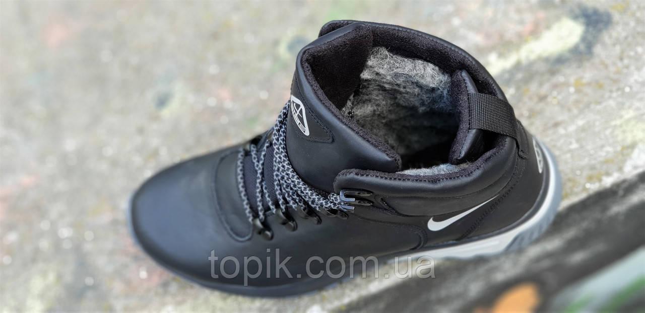 091af9f1 ... Высокие зимние черные мужские кроссовки кожаные на толстой подошве  натуральный мех (Код: 1265a) ...