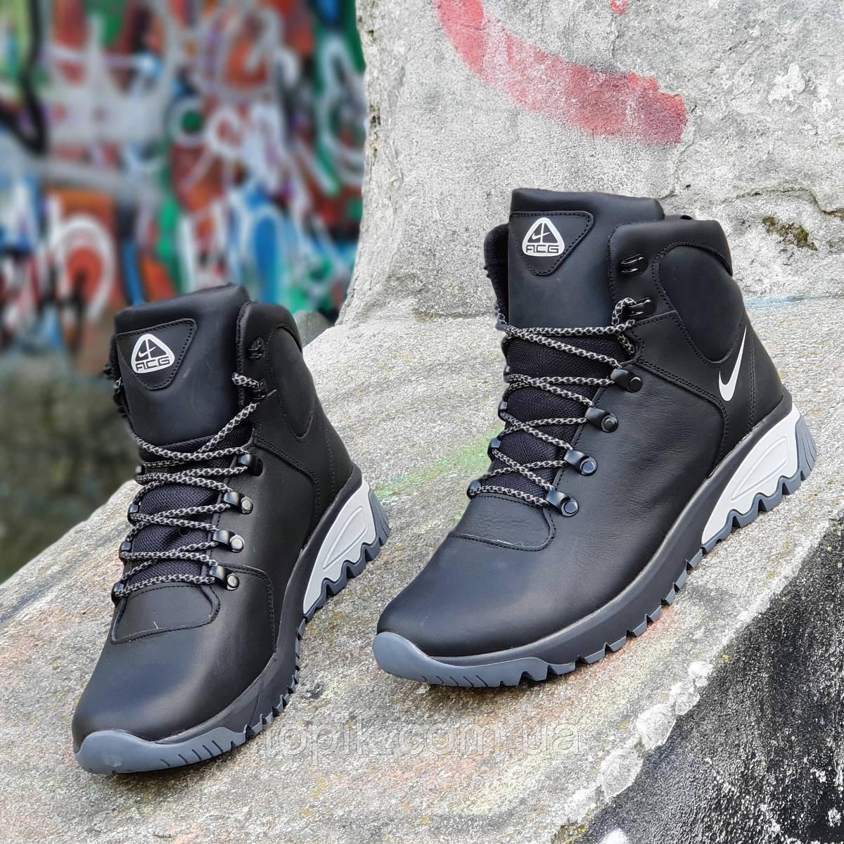 570195a0 Высокие зимние черные мужские кроссовки кожаные на толстой подошве  натуральный мех (Код: 1265a)