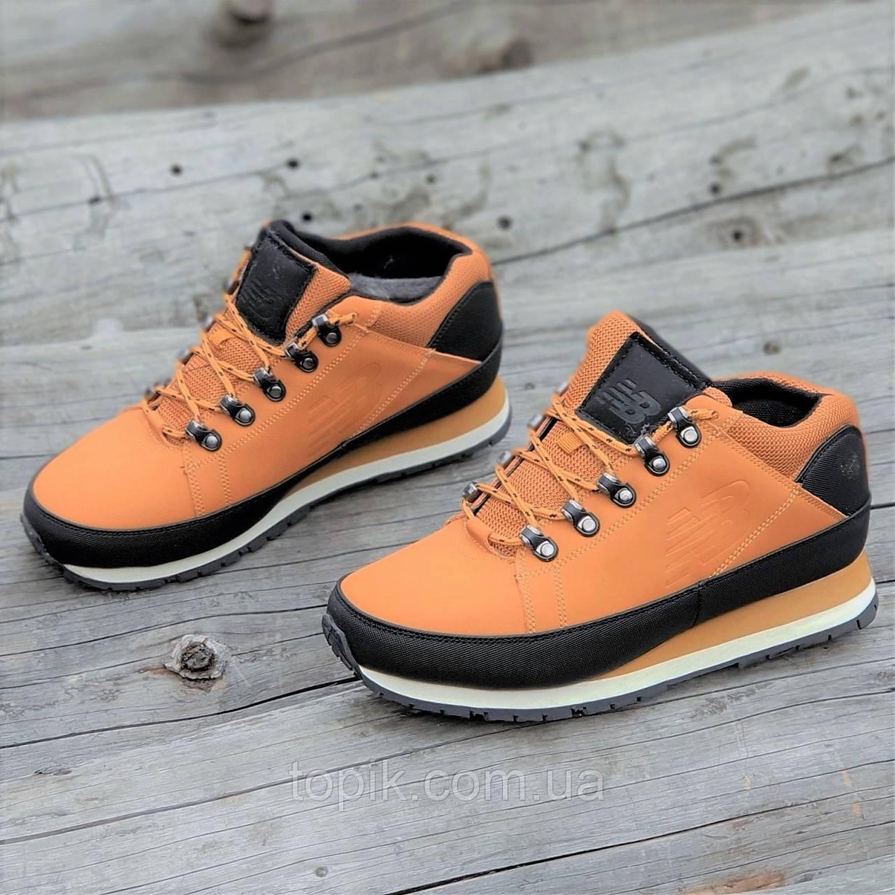Кроссовки ботинки зимние New Balance 754 реплика мужские кожаные рыжие легкие удобные (Код: 1292a)