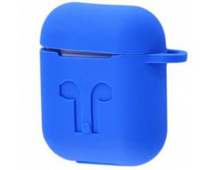 """Чехлы для наушников  Silicone Case AirPods (с карабином)  """"Blue""""(реплика)"""
