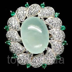 Кольцо серебряное 925 натуральный пренит, цирконий.