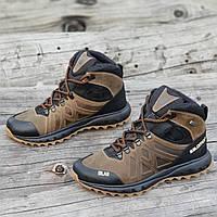 Зимние спортивные кожаные ботинки реплика мужские коричневые натуральный  мех (Код  1270a) 370fbf45ddfe0