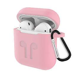 """Чехлы для наушников  Silicone Case AirPods (с карабином)  """"Light Pink""""(реплика)"""